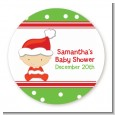 Christmas Baby Caucasian - Round Personalized Baby Shower Sticker Labels thumbnail