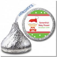 Christmas Baby Caucasian - Hershey Kiss Baby Shower Sticker Labels