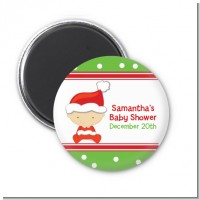 Christmas Baby Caucasian - Personalized Baby Shower Magnet Favors