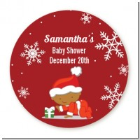 Christmas Baby Snowflakes African American - Round Personalized Baby Shower Sticker Labels