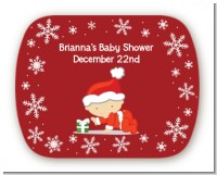Christmas Baby Snowflakes - Personalized Baby Shower Rounded Corner Stickers