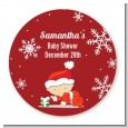 Christmas Baby Snowflakes - Round Personalized Baby Shower Sticker Labels thumbnail