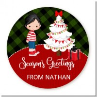 Christmas Boy - Round Personalized Christmas Sticker Labels