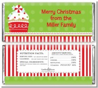Christmas Cupcake - Personalized Christmas Candy Bar Wrappers