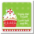 Christmas Cupcake - Square Personalized Christmas Sticker Labels thumbnail