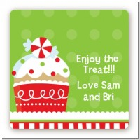 Christmas Cupcake - Square Personalized Christmas Sticker Labels