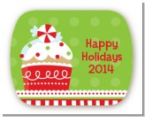 Christmas Cupcake - Personalized Christmas Rounded Corner Stickers
