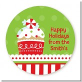 Christmas Cupcake - Round Personalized Christmas Sticker Labels