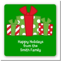 Christmas Gift Boxes - Square Personalized Christmas Sticker Labels