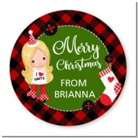 Christmas Girl - Round Personalized Christmas Sticker Labels