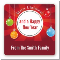 Christmas Ornaments - Square Personalized Christmas Sticker Labels