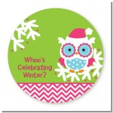 Winter Owl - Round Personalized Christmas Sticker Labels