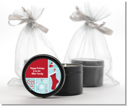 Christmas Spectacular - Christmas Black Candle Tin Favors