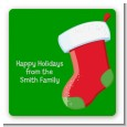 Christmas Stocking - Square Personalized Christmas Sticker Labels thumbnail