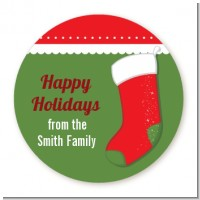 Christmas Stocking - Round Personalized Christmas Sticker Labels