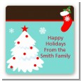 Christmas Tree and Stocking - Square Personalized Christmas Sticker Labels thumbnail