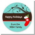 Christmas Tree and Stocking - Round Personalized Christmas Sticker Labels thumbnail
