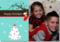 Christmas Tree and Stocking - Personalized Photo Christmas Cards