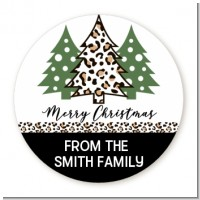 Christmas Tree Cheetah - Round Personalized Christmas Sticker Labels