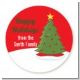 Christmas Tree - Round Personalized Christmas Sticker Labels thumbnail