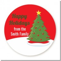 Christmas Tree - Round Personalized Christmas Sticker Labels
