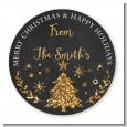Christmas Tree Gold Glitter - Round Personalized Christmas Sticker Labels thumbnail