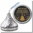 Christmas Tree Gold Glitter - Hershey Kiss Christmas Sticker Labels thumbnail
