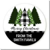 Christmas Tree Plaid - Round Personalized Christmas Sticker Labels