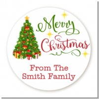 Christmas Tree Watercolor - Round Personalized Christmas Sticker Labels