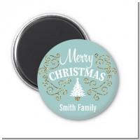 Christmas Tree with Glitter Scrolls - Personalized Christmas Magnet Favors