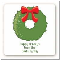 Christmas Wreath - Square Personalized Christmas Sticker Labels