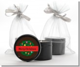 Christmas Wreath and Bells - Christmas Black Candle Tin Favors