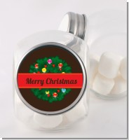Christmas Wreath and Bells - Personalized Christmas Candy Jar