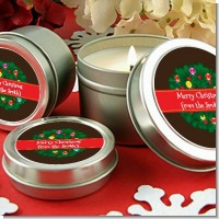 Christmas Wreath and Bells - Christmas Candle Favors