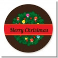 Christmas Wreath and Bells - Round Personalized Christmas Sticker Labels thumbnail