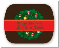 Christmas Wreath and Bells - Personalized Christmas Rounded Corner Stickers