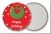 Christmas Wreath - Personalized Christmas Pocket Mirror Favors