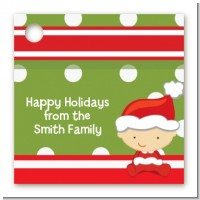 Christmas Baby Caucasian - Personalized Baby Shower Card Stock Favor Tags