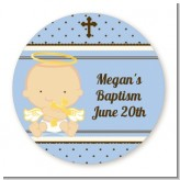 Angel Baby Boy Caucasian - Round Personalized Baptism / Christening Sticker Labels
