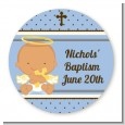 Angel Baby Boy Hispanic - Round Personalized Baptism / Christening Sticker Labels thumbnail