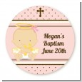 Angel Baby Girl Caucasian - Round Personalized Baptism / Christening Sticker Labels thumbnail