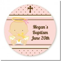 Angel Baby Girl Caucasian - Round Personalized Baptism / Christening Sticker Labels