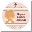 Angel Baby Girl Hispanic - Round Personalized Baptism / Christening Sticker Labels thumbnail