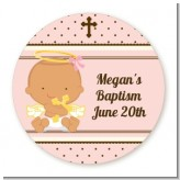 Angel Baby Girl Hispanic - Round Personalized Baptism / Christening Sticker Labels