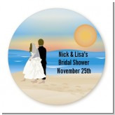 Beach Couple - Round Personalized Bridal Shower Sticker Labels