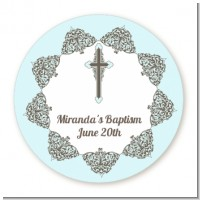 Cross Blue & Brown - Round Personalized Baptism / Christening Sticker Labels