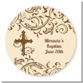 Cross Brown & Beige - Round Personalized Baptism / Christening Sticker Labels