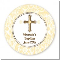 Cross Yellow & Brown - Round Personalized Baptism / Christening Sticker Labels