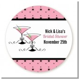 Martini Glasses - Round Personalized Bridal Shower Sticker Labels