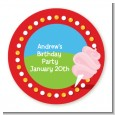 Circus Cotton Candy - Round Personalized Birthday Party Sticker Labels thumbnail